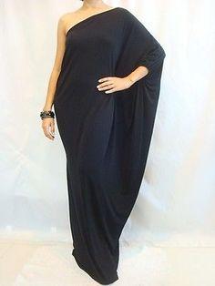 NWT Women's Black Long One Shoulder Kaftan Maxi Dress Plus Size L XL XXL 14 16