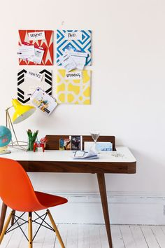 "Homes Editor Jennifer Haslam says, ""Craft these mini pinboards by stapling vibrant fabric to cork floor tiles (try Wickes - we used two per board), adding bold labels and attaching them to the wall. Interior Decorating Tips, Interior Design Tips, Furniture Decor, Bedroom Furniture, Home Organisation, Organization, Organizing, Filing System, Eames Chairs"