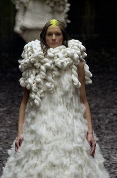 Sculptural Fashion - dress with soft fluffy textures and twisted wool collar structure - 3D fashion; wearable art // Alexander McQueen