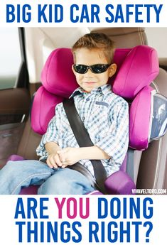 Do you know when you should transition your child from convertible car seat to booster seat to the seat belt? You might not be doing things correctly. This post has lots of information about big kid car safety!