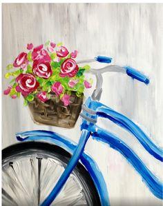 bike & basket of flowers | watercolor