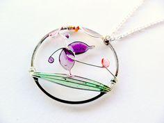Spring boho necklace purple butterfly pendant by ThePurpleBalloon, $25.00