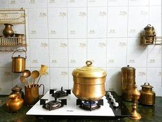 Indian Antique Quest is an Antique Curio E-retailer founded with a vision to provide Affordable Authentic Antiques along with its… Old Kitchen, Home Decor Kitchen, Kitchen Furniture, Kitchen Interior, Vintage Kitchen, Brass Kitchen, Kitchen Design, Furniture Design, Ethnic Home Decor
