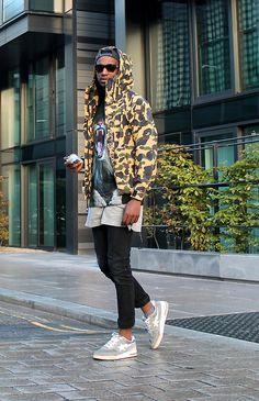 "Out In London: Nurudeen K. Is Wearing GemsNYC ""Kings Cry"" Tee From S/S-F/W 2012 Collection. A Bathing APE: BAPE Camo Jacket  A Bathing Ape-Roadstas. To Buy: GemsNYC.bigcartel.com Us.Bape.com Photography: GemsNYC-Nurudeen Kyari"