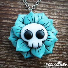 Skull+Flower+Rose+Necklace+by+rapscalliondesign+on+Etsy,+$18.48