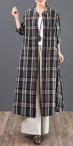 Loose Cotton Linen Plaid Long Shirt Women Casual Blouse 6127 – T-Shirts & Sweaters Long Shirt Outfits, Long Shirt Dress, Long Shirts, Casual Hijab Outfit, Casual Dresses, Casual Outfits, Elegant Dresses, Muslim Fashion, Hijab Fashion