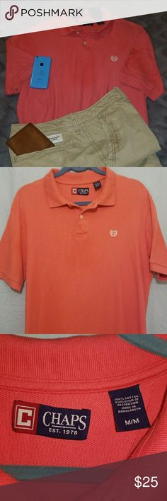 Chaps short sleeve polo for men A gorgeous salmon colored short sleeve polo for men.  This 🏇polo🏇 can be worn with shorts or even dress slacks.  ✔Genuine Chaps polo never worn, was a🎁 💯percent cotton material  ✔Size medium in men's ✔NWOT ✔17inches across the shoulders laying flat ✔31 inches in length   ✔ 7 1/2 to 8 inch sleeve width/10 inch sleeve        length🌞🌞 Chaps Shirts Polos