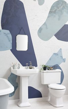 Create a dynamic feature wall with interesting depth and texture with this blue terrazzo mural, a truly creative design. Rustic Wallpaper, Bathroom Wallpaper, Textured Wallpaper, Textured Walls, Terrazzo, Home Design Blogs, Concrete Texture, Room Color Schemes, Wooden Textures