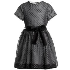 Fendi Black Spotty Dress with Velvet Bow  at Childrensalon.com