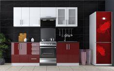 Moderná kuchynská linka GLASS 240 v odvážnej kombinácií farieb. Dvierka sú z kvalitnej MDF dosky, hrany sú chránené ABS páskou. Farba dvierok bordo a biely metalic. Korpus i sokel majú farebný biely odtieň Kitchen Cabinets, Glass, Home Decor, Decoration Home, Drinkware, Room Decor, Cabinets, Corning Glass, Home Interior Design