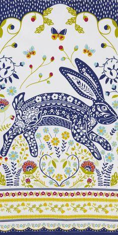 Tea towel with rabbit design