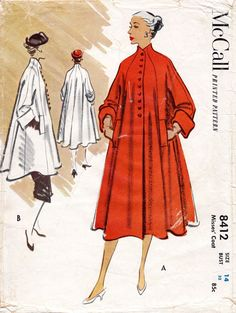 1950s 50s McCall 8412 Vintage Sewing Pattern swing coat jacket short or long lengths bust 32 b32 repro reproduction