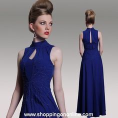 Dark Blue Prom Dress - High Collar $200.80 (was $251) Click here to see more details http://shoppingononline.com/blue-prom-dresses/dark-blue-prom-dress-high-collar.html #DarkBluePromDress #BluePromDress #DarkBlueDress #DarkBlue #HighCollar #BluePromDress
