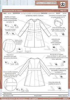Análisis de sastrería y propuesta de molderia – Asistencia en Entregas Tech Pack, Technical Drawing, Sewing Techniques, Sewing Patterns, Fashion Design, Couture, Proposal, Pattern Cutting, Note Cards