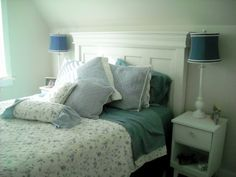 Door Headboard.  Good view of relative headboard & trim dimensions with the angled ceiling above the bed.