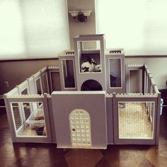 Royal Bunny-Rabbit Castle Fortress Complete w/ Keep Fortified Walls & Courtyard: enclosure pen hutch indoor fancy habitat Bunny Cages, Rabbit Cages, House Rabbit, Rabbit Toys, Pet Rabbit, Rabbit Pen, Animal Room, Rabbit Habitat, Rabbit Enclosure