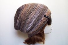 Chunky Wool Slouch Beanie in Natural Shades  by HappyWoollies