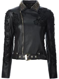 Shop Philipp Plein embellished biker jacket in Traffic Los Angeles from the…