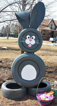TIRE PROJECTS!! Made this out of tires! Happy Easter :) #tires #DIY #recycling #bunny #rabbit #repurpose