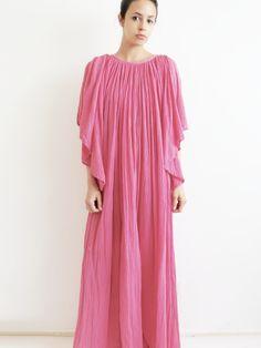 1970's Desert Rose Dress // Vintage Pink Crepe Cotton Dress SOLD