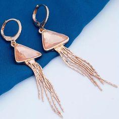 Tassel Earrings 18K rose gold plated dangle earrings. Cubic zirconia stone. New in package. Jewelry Earrings