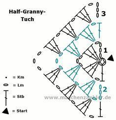 Häkelanleitung Half-Granny-Tuch - Häkelschrift