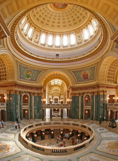 One of the most beautiful insides of a building that we've ever seen -- the Wisconsin State Capitol Rotunda. #Madison