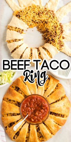 Looking for an easy appetizer? This Beef Taco Ring made with Crescent Rolls is all that and more. Great appetizer for a crowd for your next party or game day! Crescent Roll Taco Ring, Taco Pie Recipe With Crescent Rolls, Crescent Roll Ring Recipes, Crescent Roll Appetizers, Chicken Crescent Rolls, Amazing Tools, Dinner Rolls Recipe, Ground Beef Recipes, All You Need Is