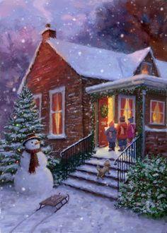 Christmas Scenery, Merry Christmas Images, Magical Christmas, Christmas Past, Pink Christmas, Vintage Christmas Cards, Christmas Carol, Christmas Pictures, Beautiful Christmas