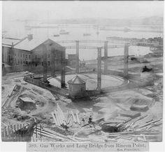 Gas Works and Long Bridge from Rincon Point, San Francisco California History, San Francisco California, Bay Area, Oregon, Bridge, Ship, City, Vintage, Bridge Pattern