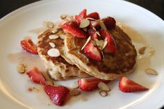 Curtis Stone's Whole-Wheat Buttermilk Pancakes with Strawberry-Maple Syrup. #food #breakfast #pancakes