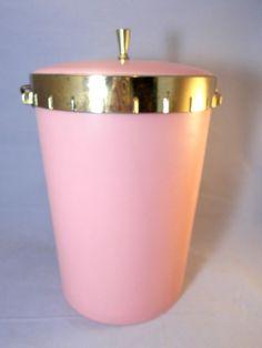 #PinkIceBucket Plas-Tex #MidCenturyModern Plastic Gold Tone Trim  #PlasTexCorporation