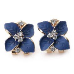 Gardenia Rhinestone Ladies Alloy Stud Earrings