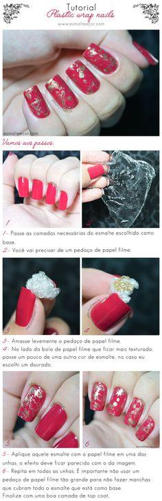 Unhas Decoradas Plastic Wrap Nails                                                                                                                                                                                 Mais