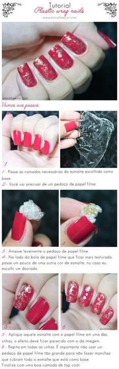 Unhas Decoradas Plastic Wrap Nails