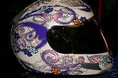 Hot!!! Motorcycle Helmets: **LADIES HJC MOTORCYCLE HELMET**SWAROVSKI CRYSTALS