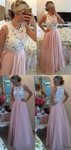 Gorgeous Lace Prom Dresses,Chiffon Prom Dresses,A Line Formal Prom Gown With Pearls,Blush Pink Prom Dresses,Long Prom Dresses