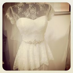 How sweet is this lace peplum by Mia Solano? Available at Bridal Gallery 5975 Malden Rd LaSalle, Ontario 519-800-0315