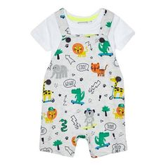 bluezoo Baby boys' grey animal print dungarees and bodysuit set | Debenhams