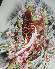 No photo description available. Carp Tattoo, Flor Tattoo, Koi Fish Tattoo, Japanese Flower Tattoo, Japanese Tattoo Designs, Koi Art, Fish Art, Japan Tattoo Design, Koi Fish Designs