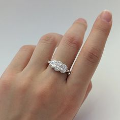 1.26 Carat Total Engagement Ring-Three Cushion Cut by Besbelle