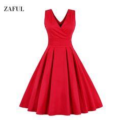 Zaful M-6XL Red Plus Size Vintage Dress Women Summer Autumn Sexy V-neck Sleeveless Elegant Rockabilly Slim Tunic Dress Vestidos