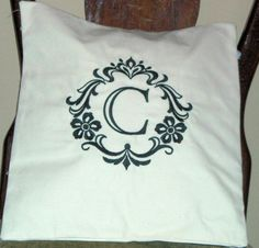 Pillow Cover-Damask Initial C Pillow Cover-Cotton Pillow