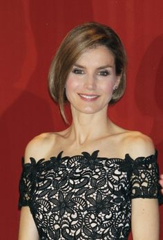 Princess Letizia looking stunning with her new hairstyle at the National Young Entrepreneur Award in Madrid yesterday, Thursday.