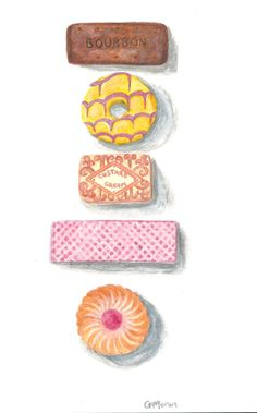 British biscuits original watercolour painting