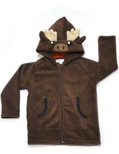 crazyheads Kids Fleece Moose Hoodie with cute face- SALE $22.49