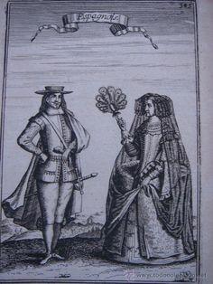 GRABADO DE PAREJA DE NOBLES ESPAÑOLES, ORIGINAL, 1683, MALLET, ESPLÉNDIDO ESTADO - Foto 1