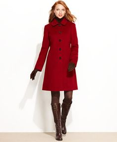 Anne Klein Coat, Wool-Cashmere-Blend Walker - Coats - Women ...