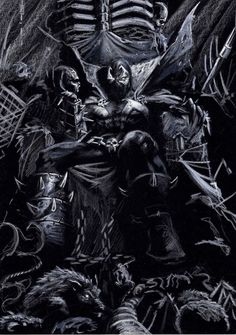 Spawn Sketch on black by LucaStrati on @DeviantArt