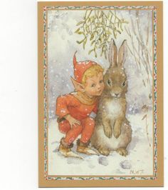 Margaret Tarrant An Elf And Bunny At  Christmas